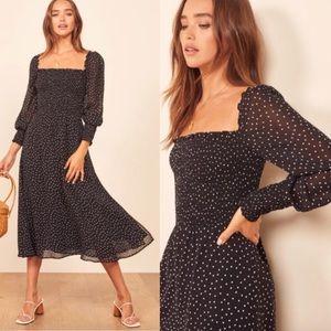 Reformation Rowan Midi Dress Selene Polka Dot 1X